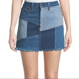 "Alice + Olivia ""Amazing"" Patchwork Mini Jean Skirt"